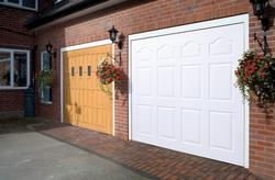 white and tan blenheim garage doors