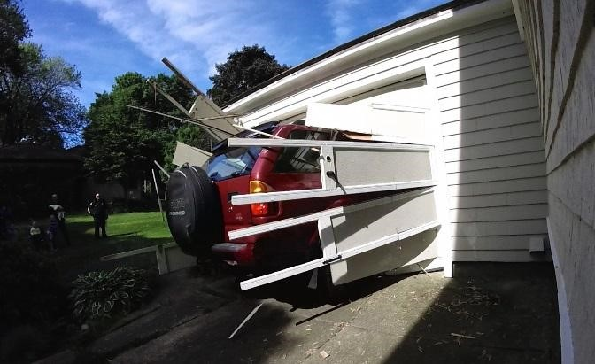 Car crash garage door